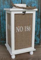 36 cm große weiße Laterne aus Holz Jute Glas Maritim Windlicht Garten braun NEU