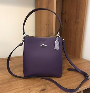 NWT Coach Small Town Bucket Bag Crossbody Pebble Leather Dark Amethyst Purple