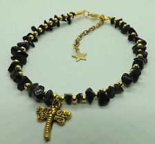 Tones Dragonfly Charm Anklet Ankle Bracelet Black Onyx Gemstone Chip Beads Gold