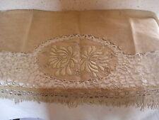 Ancien Napperon pour étagère Lin et crochet 129 x 45 cm