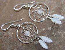 Moonstone & MOP feather Dreamcatcher Earrings all 925 Sterling Silver Earrings