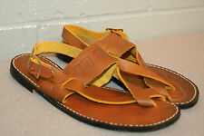 6 M VTG 70s NOS WRAP LOOP TOE STAMPED HIPPIE FLORAL THONG FLAT SANDAL BOHO Shoe