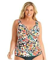 Anne Cole Women's Plus Size Twist Front Underwire, Sunset Floral, Size 18.0 7bwN