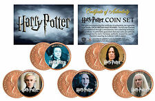 HARRY POTTER Colorized UK British Halfpennies Coins 5-Coin Set - VILLAINS