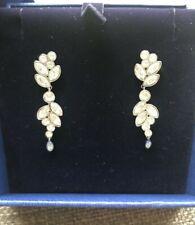 Swarovski Diapason pierced earrings, white, rhodium plated size 4cm