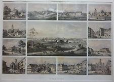 Lithografie Memmingen Gesamtansicht mit 12 Teilansichten koloriert Emminger