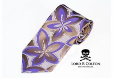 Lord R Colton Masterworks Tie Pewter & Purple Drones Woven Silk Necktie New