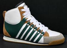 DSQUARED Vitello Sport UK 5 Green/White Leather/Suede Combi Mid Sneaker Trainers