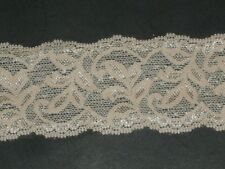 """Nude beige stretch trimming fabric scalloped elastic trim By the yard 2 1/4"""""""