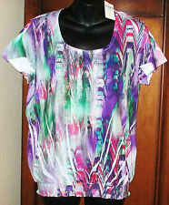 NEW Chico's Painted Vivid Smocked Suzanne SZ 1 Short Slv Top NWT Womens S 8/10