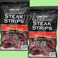 KIRKLAND STEAK STRIPS 2 BAGS x 12oz ea PREMIUM CUT CURED & DRIED BEEF JERKY