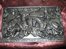 Bas relief médiéval scène tournoi de chevalerie chevalier grand modèle
