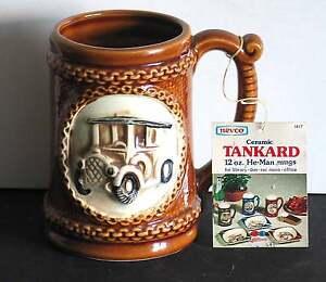 Retro NEVCO Ceramic Tankard He-Man Mugs Automotive Design 12 oz NWY FREE SH