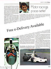 Jose Carlos Pace (Brazil) Formula One F1 History Article/Picture/Photo
