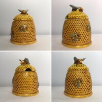 "Marutomo Ware Japan - Small Lidded Honey Pot w/ Bee On Top - 3.5"" VGC"