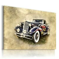 PAINTING DRAWING CARS VINTAGE RETRO PRINT Canvas Wall Art Picture R63 UNFRAMED