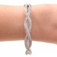 14K White Gold Women's Round Cut Diamond Antique Bangle Bracelet Estate 5.75Ct
