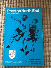 Football programme 1970 Preston North End V Carlisle United