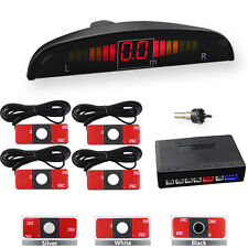 LED Display Car Reverse Parking Sensor 4 Flat Sensors Buzzer Alarm Kit System