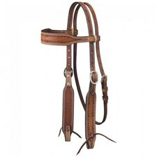 Western Brown Hand Barbed Tooled Browband Style Headstall