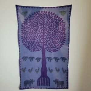 Purple Tree of Life Boho Tapestry Hippie Hippy Tie Dye Wall Hanging Quilted