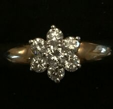 18ct Gold Ring 1/16ct Diamond Surrounded By 6 x 1/32 Ct Diamonds - NEW RRP £850