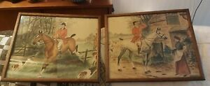 Antique Naive painting Fox Hunt English Horse & Hounds 1907 -The Meet/ Tally Ho