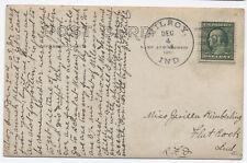 1909 Milroy Indiana Doane Cancel serified unusual on card EKU [3080]