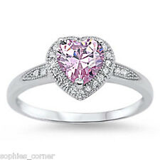 Pink Sapphire Heart Ring - Solid Sterling Silver - For your Love ~ Size 5