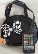 "Mini Smart Phone Black Purse for American Girl Dolls 18"" Accessories SET"