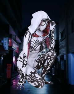 Adult Woman White Venom Costume of Gwen Stacy MARVEL Spider-man Cosplay NEW