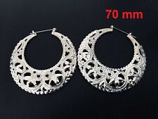 Fashion Women Ladies Stainless Steel Circle Hoop Dangle Earrings Silver 70 mm