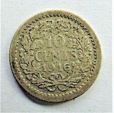 1916 NETHERLANDS Wilhelmina I, Silver 10 Cents grading About FINE.