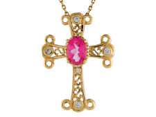14k Yellow Gold Real Pink Topaz and Diamond Accented Fleury Budded Cross Pendant