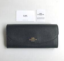 Coach * Women's Wallet F54009 IMBLK Slim Envelope Crossgrain Leather Black