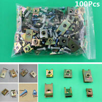 100x Car SUV Fasteners Car Body Door Panel Trim Fixed Screw U Type Gasket Clips