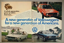 Volkswagen VW Rabbit, Scirocco & Dasher 2-Page PRINT AD - 1977