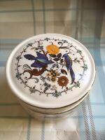 Vintage SADLER Lidded Trinket Dish/Sugar Dish/Jam Pot Birds Of Paradise Design.