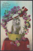 KÜN 35591) Fotokunst AK Katze im Blumenkorb Namenstag 1931