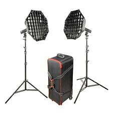 Battery Powered Flash Strobe Lighting Portable Twin Kit with Roller Case 200Ws