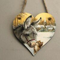 Donkey & kitten Handmade Decoupaged wooden hanging heart Christmas decoration