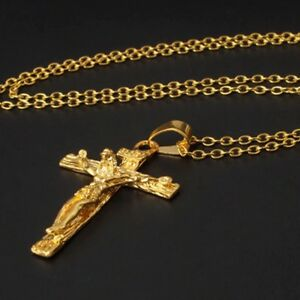 TOP QUALITY Gold Plated JESUS CROSS PENDANT Necklace UNISEX GIFT