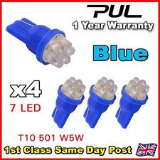 4 X 7 LED BLUE 501 T10 W5W SIDELIGHT / NUMBER PLATE / INTERIOR BULBS