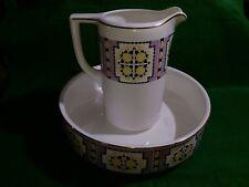 Societe Ceramique Maestricht Pitcher & Bowl Set Antique 1920's Dutch Holland
