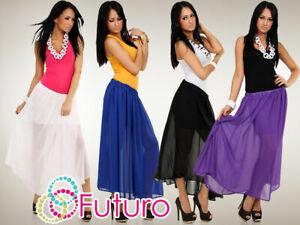 Womens Summer Flippy Chiffon Skirt Lining Holiday Colours Size 8-12 FA02 SALE