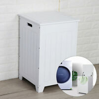 New Large Square Wooden Laundry Basket White Bathroom Bedroom Clothes Hamper UK