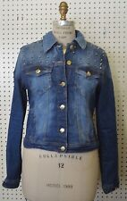 USED Denim LOVE CULTURE Women JEAN JACKET Studded SZ LARGE