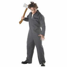 Halloween Fancy Dress Axe Murderer Costume Adult Grey Overalls Convict Myers
