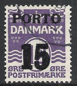 DENMARK SCOTT J38 USED VF - 1934 15o on 12o VIOLET POSTAGE DUE ISSUE  CAT $4.50