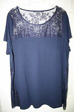 """Torrid"" Pullover Top~Shadow Stripe~Short Sleeve~Lace Inset~Navy~3~NWT"